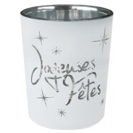 Photophore joyeuses fêtes blanc en verre les 12