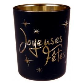Photophore joyeuses fêtes noir en verre les 12