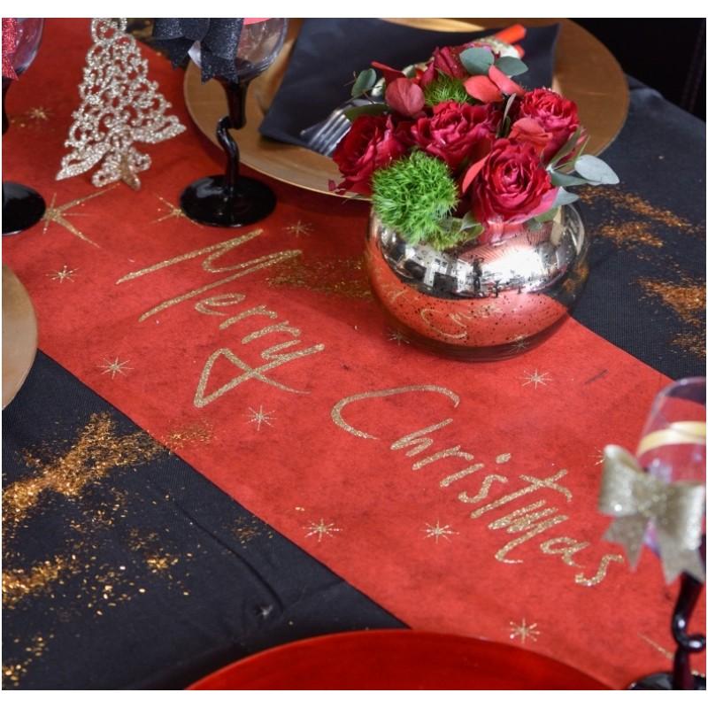 chemin de table no l rouge et or merry christmas chemin de table no l. Black Bedroom Furniture Sets. Home Design Ideas
