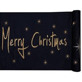 Chemin de table Noël noir et or Merry Christmas 5 M