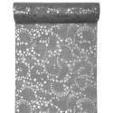 Chemin de table étoiles argent toile de jute grise 3 M