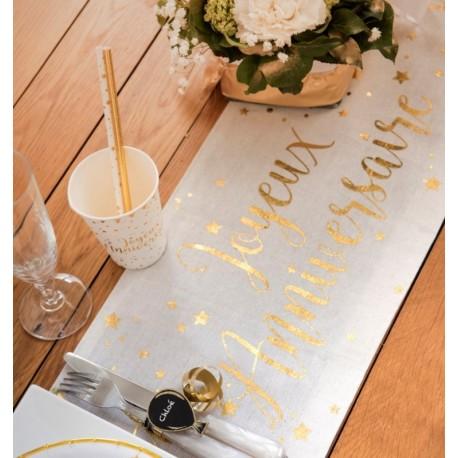 Chemin de table joyeux anniversaire Or coton 3 M