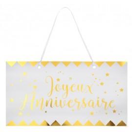 Pancarte Joyeux anniversaire or en carton blanc