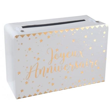 Tirelire valise joyeux anniversaire or en carton 24 cm
