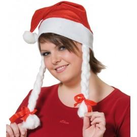 Bonnet de Mère Noël avec Nattes
