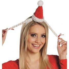 Mini bonnet de Mère Noël avec tresses adulte