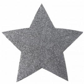 Mini sets de table étoile argent pailletée 15 cm les 2