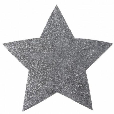 Mini set de table étoile argent pailletée 15 cm les 2