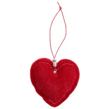Coeur décoratif fausse fourrure rouge les 2