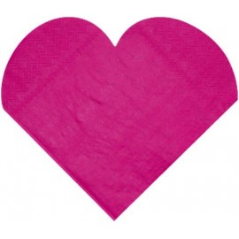 Serviettes de Table Coeur Fuschia en Papier les 20