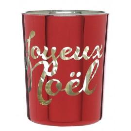 Photophore Joyeux Noël rouge en verre les 12
