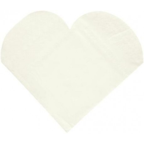 Serviettes de Table Coeur Blanc