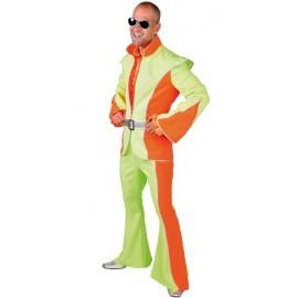 Déguisement disco fluo vert et orange homme luxe