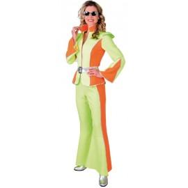 Déguisement disco fluo vert et orange femme luxe