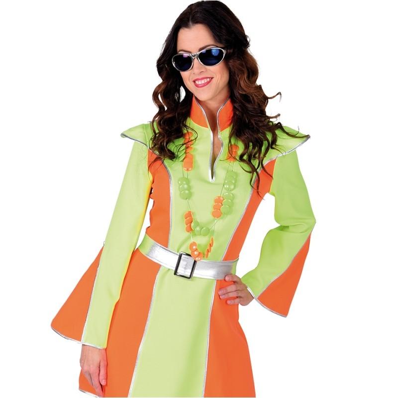 d guisement disco fluo vert et orange femme luxe. Black Bedroom Furniture Sets. Home Design Ideas