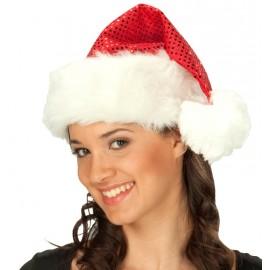 Bonnet de Noël rouge à sequins adulte
