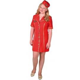 Déguisement hôtesse de l'air rouge fille luxe