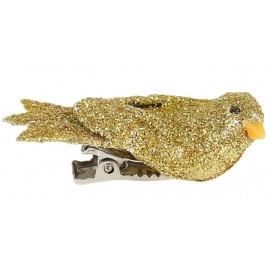 Oiseau or pailleté sur pince 4 cm les 2