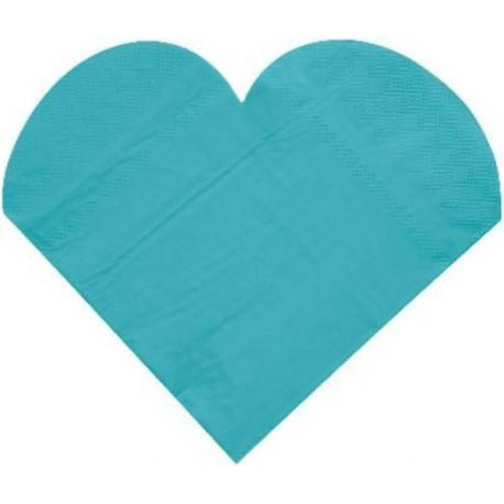 Serviettes de Table Coeur Turquoise les 20 - Serviette papier
