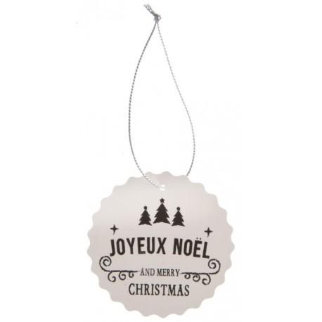 Etiquette joyeux Noël Merry Christmas avec cordon les 4