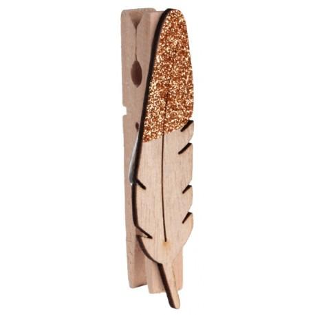 Plume en bois pailleté cuivre sur pince les 8