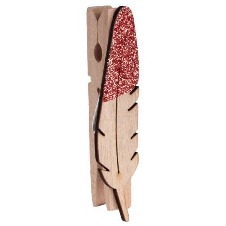 Plume en bois pailleté rouge sur pince les 8