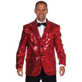 Déguisement veste paillettes sequin rouge homme chic luxe