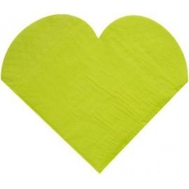 Serviettes de Table Coeur Vert amande les 20 - Serviette papier