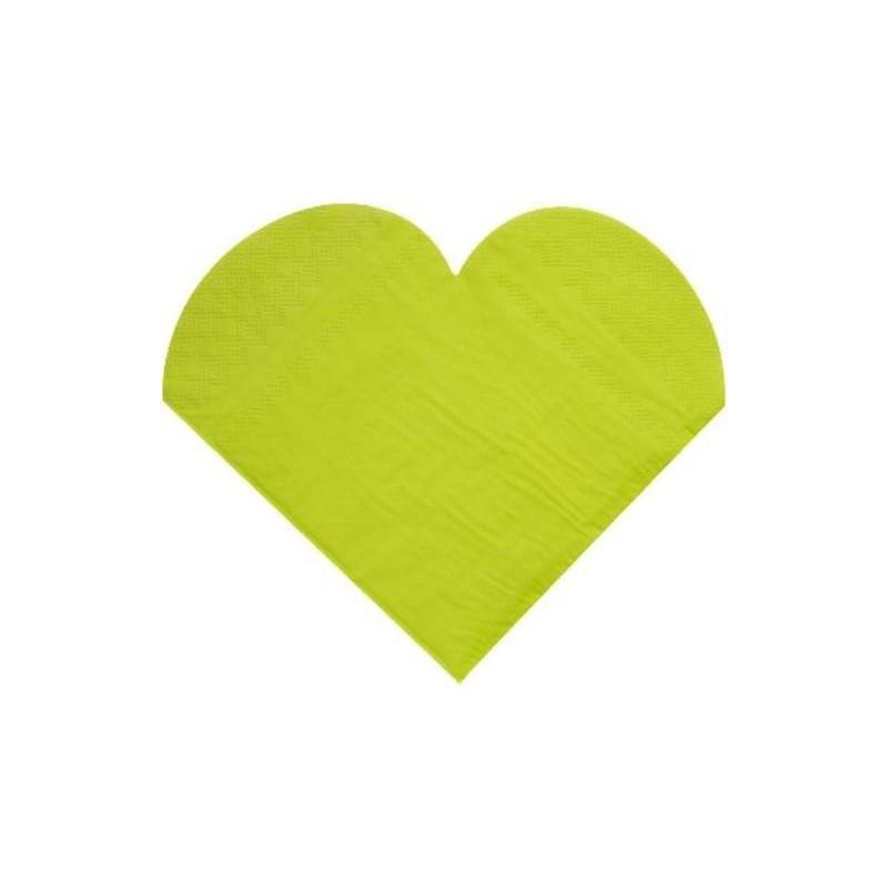 serviettes de table coeur vert amande les 20 serviette papier. Black Bedroom Furniture Sets. Home Design Ideas