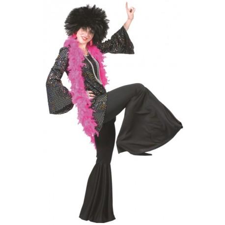 Déguisement robe disco noire à paillettes femme