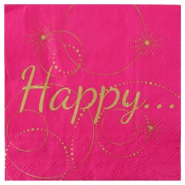 Serviette de table Happy fuchsia et or papier les 20