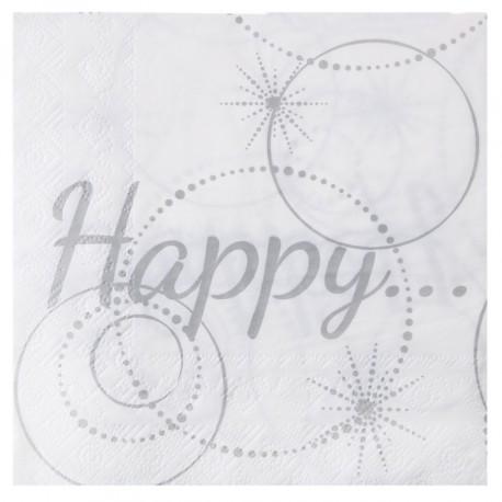 Serviette de table Happy blanche et argent papier les 20