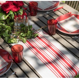 Chemin de table tradition rouge coton 3 M