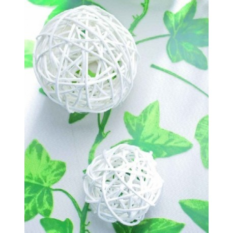 Boule rotin Blanc 9 cm les 4