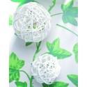 Boules rotin blanc 9 cm les 4