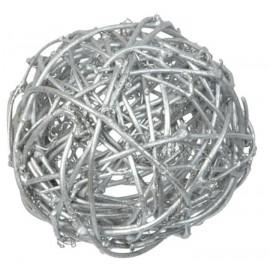 Boule rotin argent 9 cm les 4