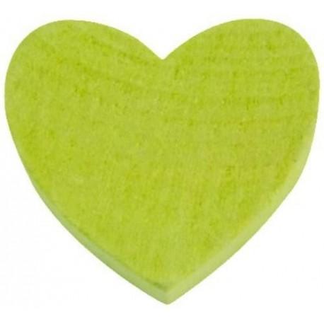 Coeur en Bois Vert Amande
