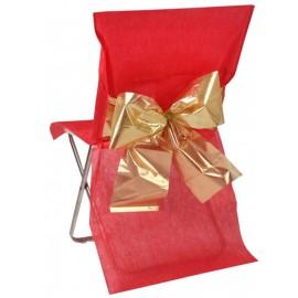 Housse de chaise rouge noeud or les 4