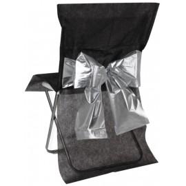 Housse de chaise noire noeud argent les 4