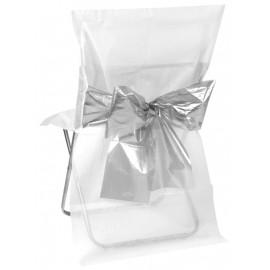 Housse de chaise blanche noeud argent les 4