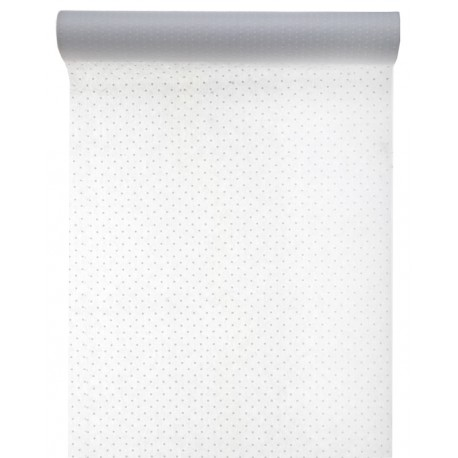 Chemin de table plumetis blanc intissé 5 M
