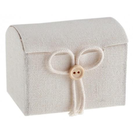 Boîte à dragées malle aux trésors coton blanc naturel les 4