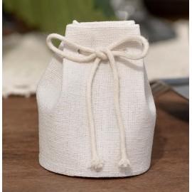 Aumônière à dragées coton blanc naturel les 4