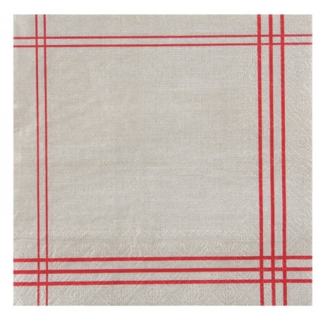 Serviette de table tradition rouge papier les 20