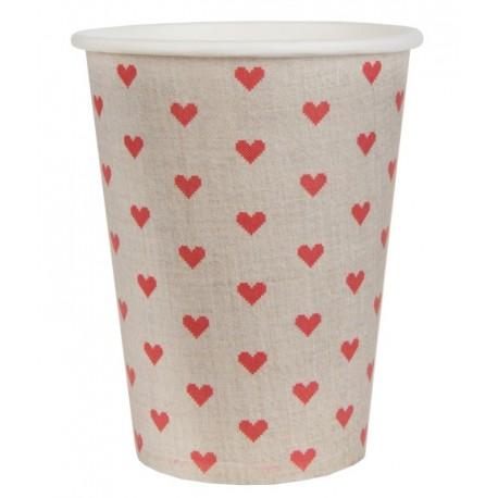 Gobelet carton naturel à coeurs rouges les 10