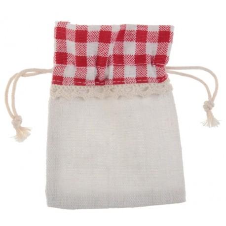Sachet à dragées coton naturel et vichy rouge les 4