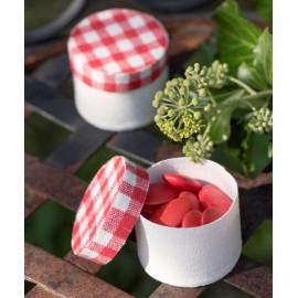 Boîte à dragées coton naturel et vichy rouge les 4