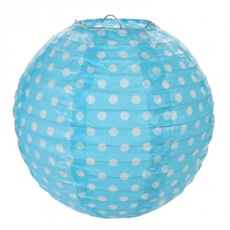 Lanterne boule chinoise turquoise à pois 20 cm les 2