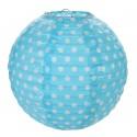 Lanternes boule papier turquoise à pois 20 cm les 2