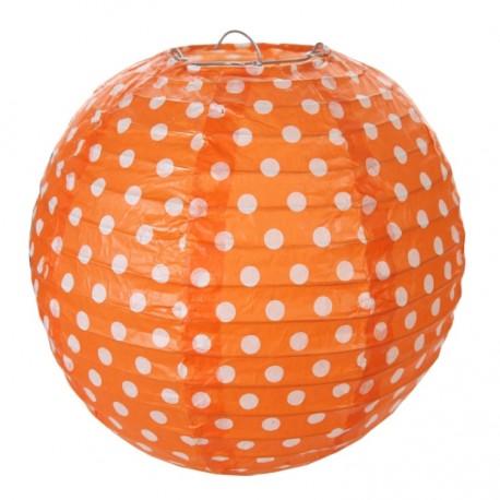 Lanterne boule chinoise orange à pois 20 cm les 2